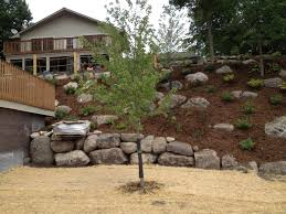 hillside backyard landscaping house design with rocks various
