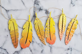 gold foiled feather garlands craft tutorial makes