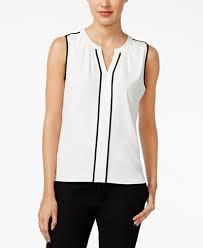 white sleeveless blouse calvin klein sleeveless contrast trim blouse tops macy s