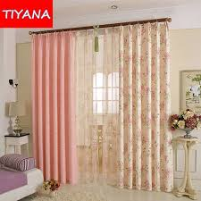 Plaid Curtain Material Korean Pink Flower Printed Curtains Drapes Tulle Voile For