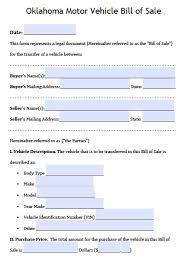 Free Motor Vehicle Bill Of Sale Template by Free Oklahoma Dps Motor Vehicle Bill Of Sale Form Pdf Word Doc