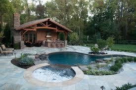 Pool Houses And Cabanas Inground Pool U0026 Spa With Cabana Rustic Pool New York By