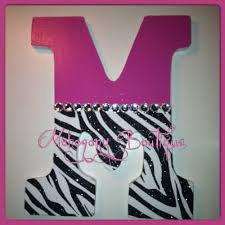 custom decorated wooden letters pink zebra print theme