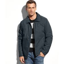tommy hilfiger zip front micro twill jacket in blue for men lyst
