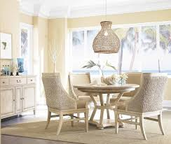 eclectic serveware dining room beach style with woven window