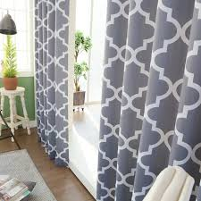 Moroccan Style Curtains Grey Moroccan Tile Printed Room Darkening Grommet Curtains