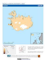 Iceland Map World Maps Population Density Grid V1 Sedac