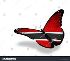 Flag For Trinidad And Tobago Trinidad Tobago Flag Butterfly Flying Isolated Stock Illustration