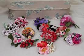 Corsage Pins Vintage Satin Ribbon U0026 Velvet Flowers Millinery Trims For Hats