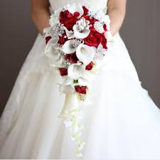 wedding bouquets cheap 2018 artificial pearl bridal bouquets ivory waterfall