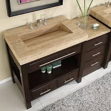 56 inch single sink cabinet with espresso finish and travertine