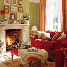 green living room with red sofa stool and curtains green living
