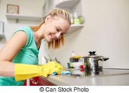 küche putzen abbildung frau herd putzen haupt küche glücklich begriff