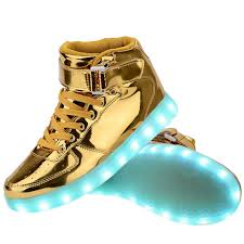 light up shoes for adults men high top usb charging led light up shoes flashing sneakers gold