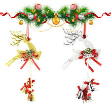 gold and silver plastic deer bell string pendant ornaments
