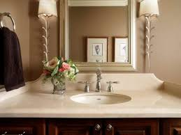 Powder Room Wallpaper by Tasteful Chrome Towel Bar At White Wall Painted And Vanity Mirror