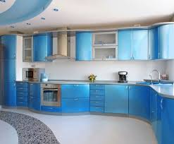 cool modern blue kitchen ideas with white tile backsplash