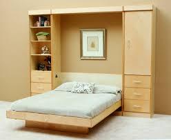 bedroom fancy design of hidden bed with wooden wall shelves plus