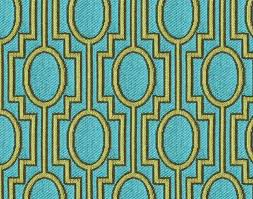 Green Trellis Fabric Turquoise Yellow Geometric Upholstery Fabric By The Yard