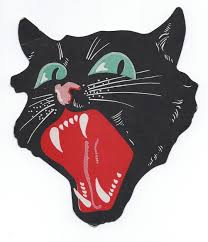 vintage halloween dennison snarling black cat die cut 1920s art