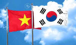 Viet Nam Flag Vietnam Flag With South Korea Flag 3d Rendering Stock Photo