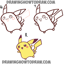 how to draw cute baby chibi pikachu from pokemon step by step