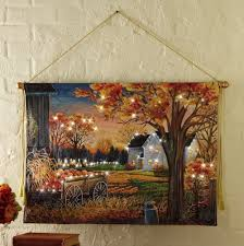 Autumn Home Decor Lighted Autumn Harvest Pumpkin Canvas Wall Hanging Thanksgiving