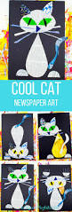 cool cat newspaper art project for kids arty crafty kids