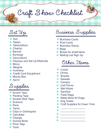 free printable craft show checklist my so called crafty life