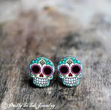 skull stud earrings candy color stud earrings sugar skulls sugaring and etsy