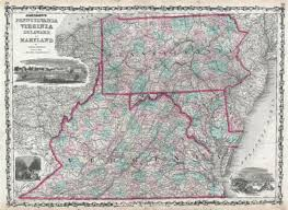 Map Of Maryland And Virginia by Johnson U0027s Map Of Pennsylvania Virginia Delaware U0026 Maryland New
