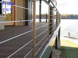 outdoor stainless steel balcony railing design with wooden