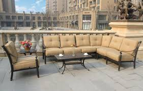 White Wrought Iron Patio Furniture Sets - furniture l shaped patio furniture with white cushion pati chairs