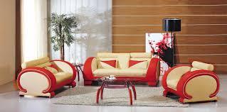bonded leather sofa set in beige and red
