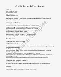 Bank Teller Objective Resume Examples by Resume Samples Credit Union Teller Resume Sample
