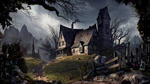 halloween 1920x1080 old house halloween road fence trees mountains wallpaper