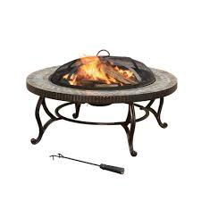 Slate Firepit Pleasant Hearth Elizabeth 34 In Steel Pit In Slate