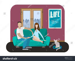romantic couple home sitting on sofa stock vector 655148911