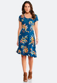 fit and flare dress blue floral fit and flare dress junior misses cato fashions