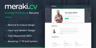 Single Page Resume Template Meraki One Page Html Resume Template Themes Codegrape