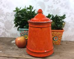 orange kitchen canisters vintage ceramic kitchen canisters etsy