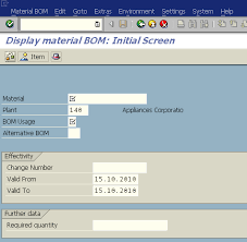 sap t code description table how to display bom bill of material of a sap product