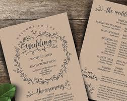 rustic wedding program rustic wedding programs etsy