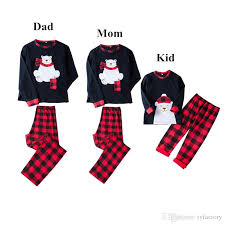 Lovely Bear Appliqued Plaid Christmas Family Pajamas Clothing Bear