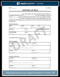 bill of sale template car bill of sale form create a free vehicle car generic template