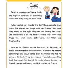 trust character reading comprehension worksheet