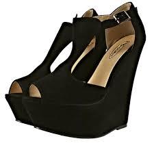 t bar platform wedge sandal shoes black suedette from shoebou uk