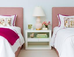 pink twin headboards with purple border bedding transitional