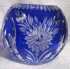 Cobalt Blue Crystal Vase Cut To Clear Bowl Ebay