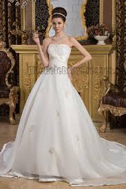 Chapel Train Wedding Dresses Elegant Strapless Embroidered Chapel Train Wedding Dresses